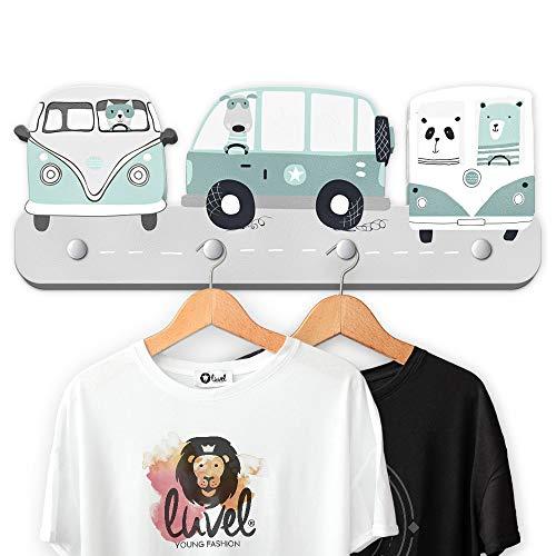 (G11) Kindergarderobe mit 4 Haken, viele Motive, Maße ca.: 40 x 15 x 1 cm, Wandgarderobe, Kleiderhaken, Wandhaken, Kindermöbel, Garderobenhaken, Kinderzimmer (Dreamcars)