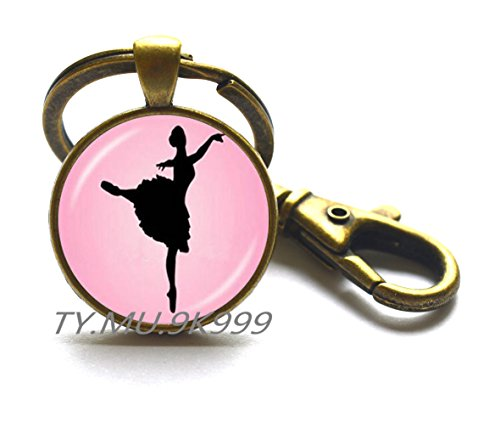 Ballett-Gruppe Ballerina-Schlüsselanhänger, Ballerina-Tanz-Schmuck, Ballett-Tanz-Schmuck, Glaskuppel Kunst-Schlüsselanhänger mit Geschenk-Schlüsselanhänger. Y065