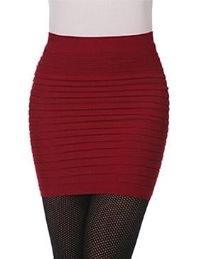 Faldas, Challeng 1PC Fashion Womens plisado elástico paquete de cintura alta cadera falda corta (Borgoña)