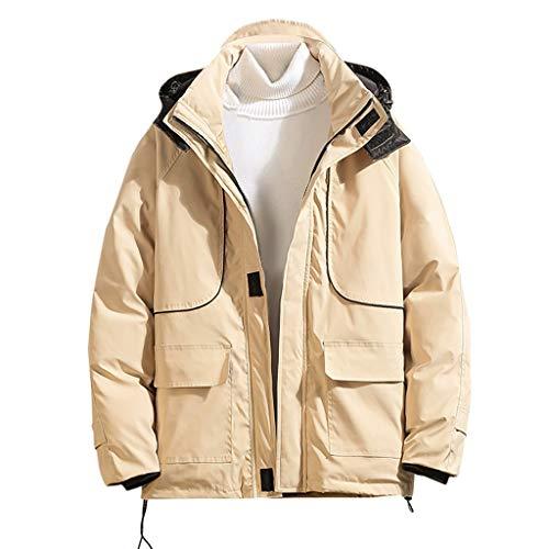 KaloryWee 2019 Herbst Winter Herren Jacke Einfarbig Lose Daunenjacke Mantel Kapuzenjacke Winterjacke Thermojacke Patchwork Linie Outdoor Coat