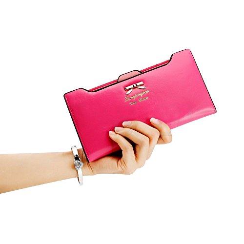 41hCECf0teL - CHIC-CHIC Women Vintage Clutch Wallet Button Card Holder Lady Long Handbag Bag Case Purse (Rose)