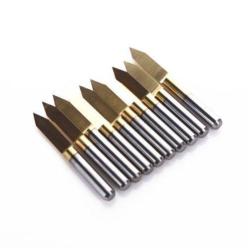 OMAS 10 x Titan-beschichteten Hartmetall-PCB Gravieren CNC-Bit Router-Tool 60 Grad 0,2 mm Tipp (j3.6002tix10)