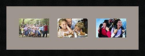 Cadres photos pêle mêle multivues 3 photo(s) 15x10 Passe Partout, Cadre photo mural 60x20 cm Noir, 3 cm de largeur