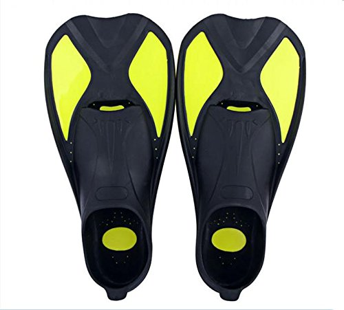 WENBIAOXUE Full Foot Scuba Diving Snorkeling Fins , black yellow , m (40~41) (Fin Scuba)