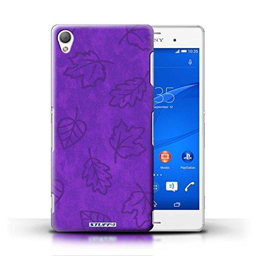Kobalt® Imprimé Etui / Coque pour Sony Xperia Z3 / Jaune conception / Série Motif Feuille/Effet Textile Pourpre