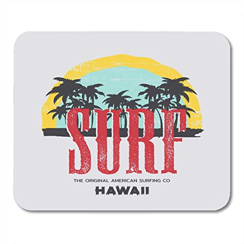 Surf Vintage Hawaii-art (Deglogse Gaming-Mauspad-Matte, Coast Blue Badge on The of Surfing and Surf in Hawaii Vintage Design Grunge Graphics White Beach Mouse Pad,Desktop Computers Mouse Mats,)