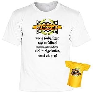 T-Shirt zum 60.Geburtstag + Minishirt Geschenk 60 Set : 60 Jahre alt ! wenig Vorbesitzer .. -- Set Goodman Design® Gr: XXL Farbe: weiss