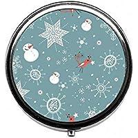 LinJxLee Christmas Snowman Snowflake Round Pill Case Pill Box Tablet Vitamin Organizer Easy to Carry preisvergleich bei billige-tabletten.eu