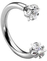 PiercingJ - Anneau Piercing Barbell Cristal Arcade Boucle de Nez Cartilage d'Oreille Labret Mamelle Zircon Etoile Acier Inoxydable Argent 8mm - 12mm