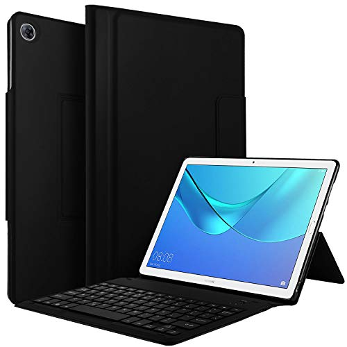 Jelly Comb Huawei MediaPad M5(10,8 Zoll) Tastatur Hülle, Ultradünn Schutzhülle mit Nicht abnehmbare Bluetooth Tastatur(QWERTZ Deutsches Layout) für Huawei M5 10,8 Zoll, Schwarz