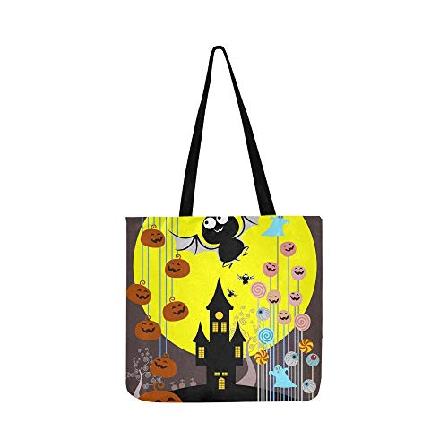 (Halloween Süßigkeiten Eimer Trick Treat Konzept Leinwand Tote Handtasche Umhängetasche Crossbody Taschen Geldbörsen Für Männer Und Frauen Einkaufstasche)