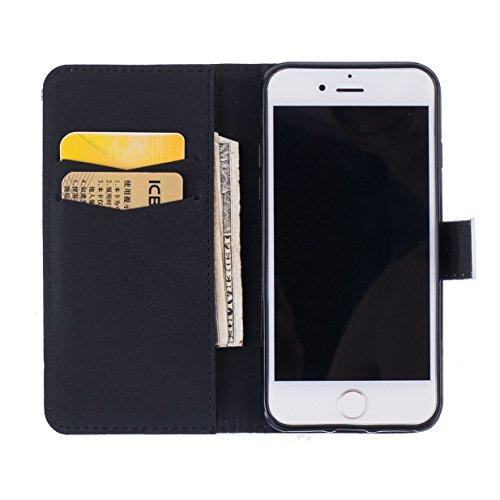 WYSTORE Apple iphone 7 coque , PU cuir flip housse Étui Cover Case Wallet Stand avec Carte de Crédit Fentes pour ,Protection Anti Rayure Anti Choc Résistante Fashion - plume foi