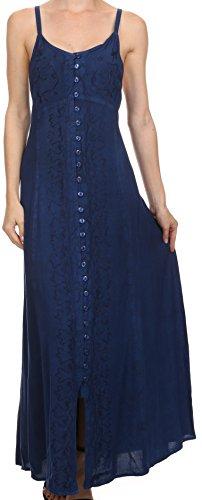 Sakkas 15228 - Aisley Blumen bestickten ärmellos verstellbarem Gurt Taste herauf Kleid - Marine - 1X/2X (Importiert Sandalen Womens Casual)