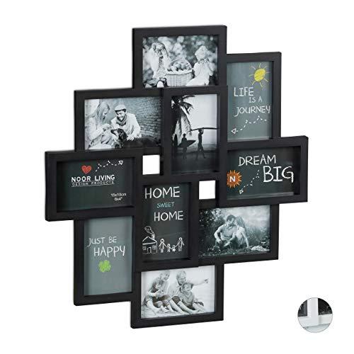 Relaxdays Bilderrahmen Collagen, für 10 Bilder, Hoch- oder Querformat, Wand Kunststoffrahmen, H x B 55 x 50 cm, schwarz