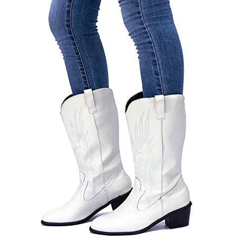 Stivali Cowboy Donna Stivali Texani Invernali Boots Blocco Tacco 5.3CM Stivaletti PU Pelle Stivali Western Moto Equitazione Vintage Bianco EU 39