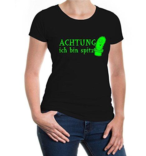 buXsbaum® Girlie T-Shirt Achtung ich bin spitz Black-Neongreen