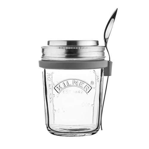 KILNER Frühstück To-Go-Glas - der ideale 2Go Müslibecher für unterwegs | clever | stylisch | schadstoffrei | 0,35 Liter
