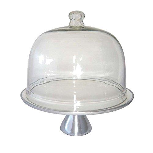 Better & Best 2575082 – Cloche à Fromage Grand Format en Aluminium Blanc et argenté, DE 30 cm, avec Pied, avec Couvercle en Verre