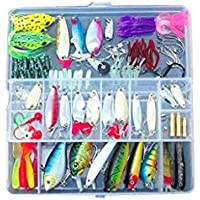 Xiton 100 Señuelos de Pesca Spinners enchufes cucharas de Cebo Suave Trucha Salmón + Caja Set