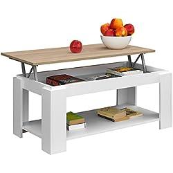 Comifort Table basse relevable avec porte-revues intégré 100x 50x 43/55cm