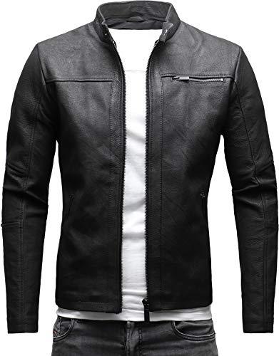 CRONE Epic Herren Lederjacke Cleane Leichte Basic Jacke aus festem Ziegenleder (M, Crushed Schwarz (Ziegenleder)) -