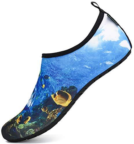 SAGUARO Badeschuhe Wasserschuhe Schwimmschuhe Strandschuhe Aquaschuhe Surfschuhe Barfußschuhe Tauchschuhe Wassersportschuhe für Damen Herren(021 Mehrfarbig,40/41 EU)