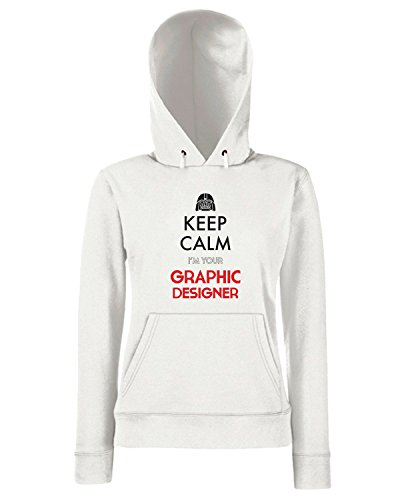 T-Shirtshock - Sweats a capuche Femme T0753 keep calm i am your graphic designer fun cool geek Blanc