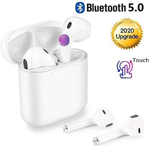 Casque sans fil Bluetooth 5.0, casque tactile avec microphone, couplage automatique, réduction du bruit intra-auriculaire CVC 8.0, compatible avec iPhone / Airpod / Samsung / Huawei