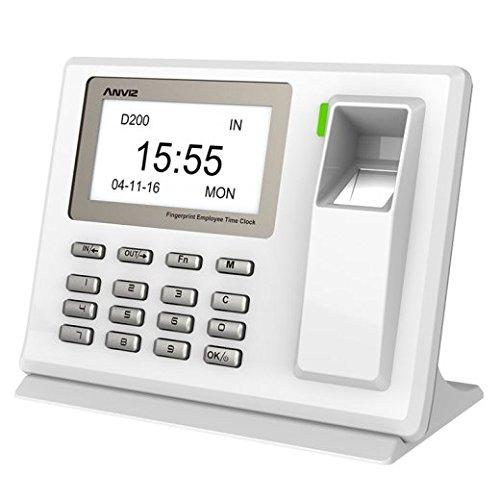 MKT praktisches Fingerprint Zeiterfassungssystem ohne Karte - Elektronische Fingerabdruck Stempeluhr zum Stundennachweis - Nützliche biometrische Stechuhr für Mitarbeiter (Elektronische Stempel)