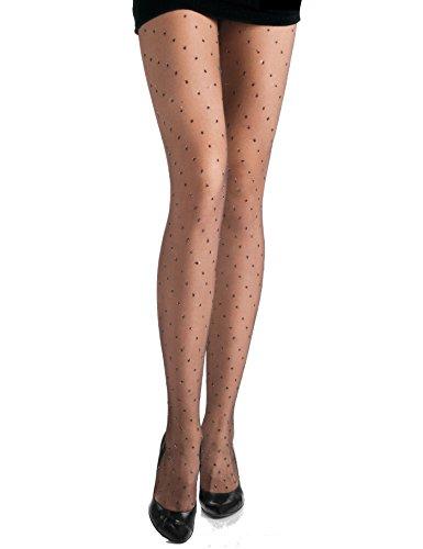 Sara Damen Strumpfhose mit Polka Dots Glitzer Gliter Muster Punkten Pantyhose Stockings aus Lurex 15 DEN Schwarz
