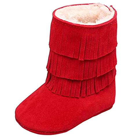 TIREOW Baby Girl Winter Soft Sole Warm Anti-slip Easy Walk Breathable Double-deck Casual Tassels Shearling Boots 2017 7# (14, RD)
