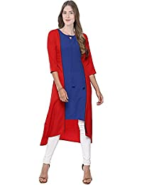 Ecolors Fab Women's Solid Rayon A Line Kurtis For Women
