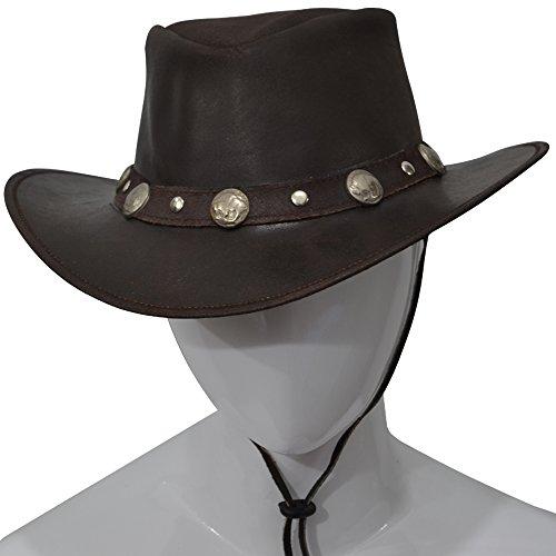 AQWA Cowboyhut / Buschhut im modernen Westernstyle mit Nieten, Conchos und Kinnriemen, braun, S - Fancy Concho