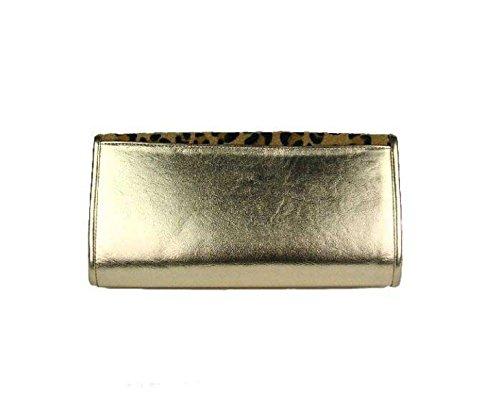 Leopard Glänzend Mode Clutch Abendessenbeutel Umhängetasche Gold