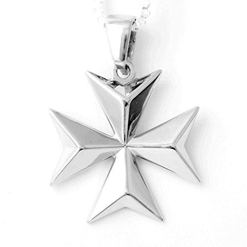 Croce maltese marchiata Cavalieri di Malta, ciondolo Amalfi in argento Sterling.