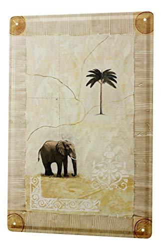 Cartel Letrero de Chapa XXL Elefante Zoo elefantes