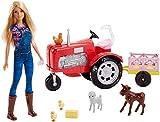 Barbie-Frm18 Set di Gioco con Trattore con Rimorchio, Animali e Bambola, Multicolore, FRM18