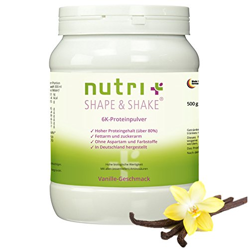 Proteinpulver Vanille 500g - ohne Aspartam - Nutri-Plus Shape & Shake mit Whey-Isolat + Casein - Low Carb Eiweißpulver 6k - Dose inkl. Dosierlöffel
