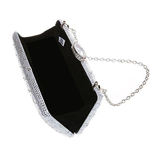 KAXIDY Abendtasche Handtasche Damen Handtasche mit vielen funkelnden Strass Silber