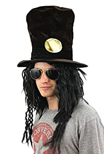 GUITAR MAN FANCY DRESS ACCESSORY SET DARK BROWN HAT WITH ATTACHED HAIR + SILVER GLASSES + BLACK AFRO ROCKER LOOK WIG - SLASH GUNS N ROSES ROCKER