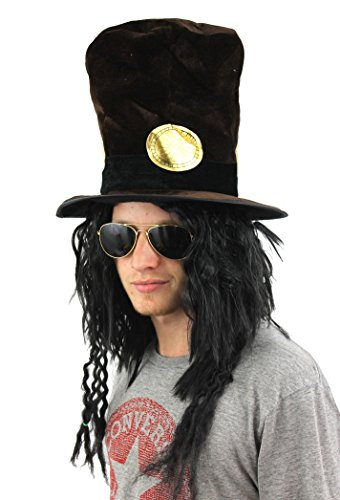 Kostüme Slash Halloween (SLASH STYLE BROWN VELOUR HAT WITH HAIR ROCKER + RELAXED AFRO + AVIATOR GLASSES GUITAR)