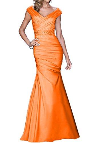 Promgirl House Damen Elegant V-Ausschnitt Meerjungfrau Satin Abendkleider Party Ballkleider Lang Orange