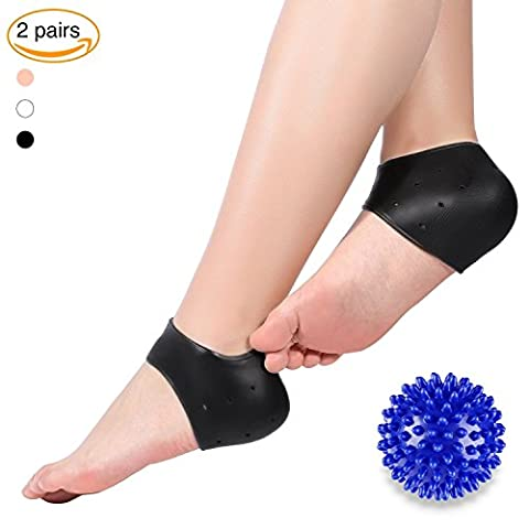 Doact Plantar Fasciitis Gel Heel Protector Sleeve Foot Pads Heel Cushion Cups, 2 Pairs Silicone Socks + A Massage Ball for Heel Spurs Foot Pain Relief