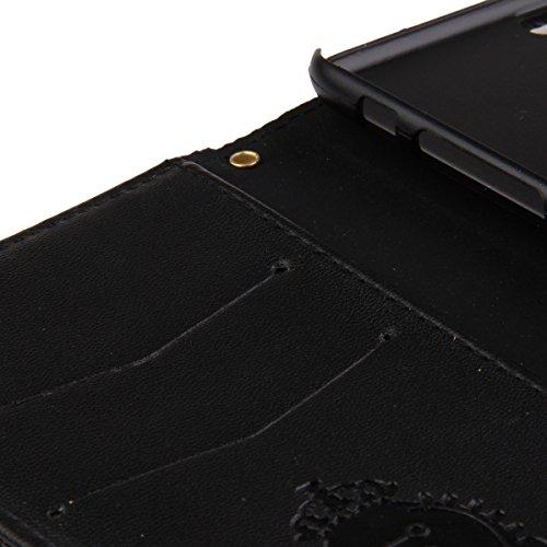 Etche Case pour iPhone 6 Plus/6S Plus 5.5 pouces,Housse en cuir pour iPhone 6 Plus/6S Plus 5.5 pouces,Étui portefeuille pour iPhone 6 Plus/6S Plus 5.5 pouces,Cas mignon pour iPhone 6 Plus/6S Plus 5.5  bowknot,noir