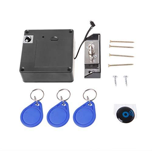 Amarzk Cabinet Unsichtbares elektronisches RFID-Schloss Versteckte Keyless-Schubladen-Türschlösser Sensor-Schließfach mit 3 Schlüsselanhänger