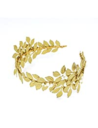 YAZILIND moda novia diadema Aceituna dorada hojas perlas tocado de boda para mujeres