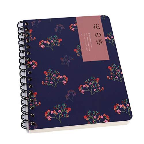 Speicher-spule (Flybloom fein Blume Notebook große Spule Speicher Rekord Jotter Briefpapier wöchentliche Tagebuch Zeitplan Plan Notizbuch (dunkelblau))