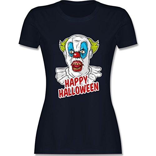 Shirtracer Halloween - Happy Halloween - Clown - Damen T-Shirt Rundhals  Navy Blau