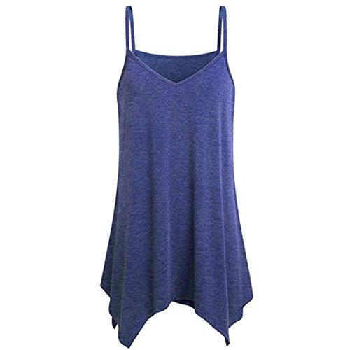 OverDose Damen Taschentuch Saum Flowy Top Lässig Sommer Spaghetti Strap Camisoles Casual Tank Tops Freizeit Camis T-Shirts Bluse Tees Oberteile(A-Blau 1,EU-36/CN-S) -