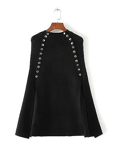 PU&PU Longue Cape / Capes Femme D¨¦contract¨¦ / Quotidien Sortie simple,Couleur Pleine Col Arrondi Manches Longues Laine Coton PolyesterPrintemps , black , one-size